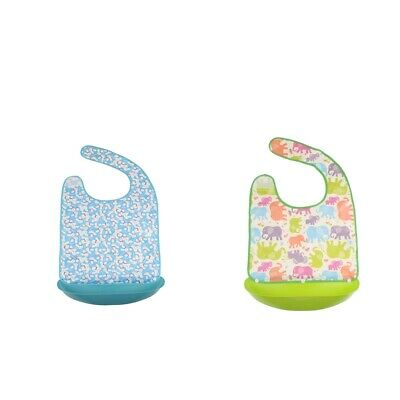 2Adult Bib Waterproof Washable Cloth Eating Mealtime Protector Crumb Catcher