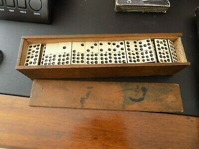 A Antique Set Ebony Dominoes in Wooden Box Double Nines 9s Dates to 1890s/1900s