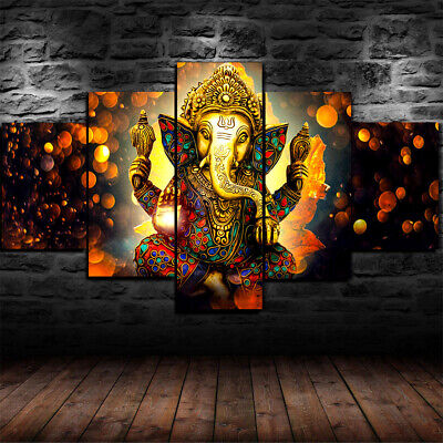 Framed Lord Ganesha son of Shiva and Parvati 5 Piece Canvas Print Wall Art Decor