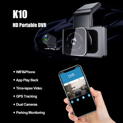 """Car Camera Dash Cam DVR Front and Rear Recorder Mirror Full HD 7"""" Touch Screen"""