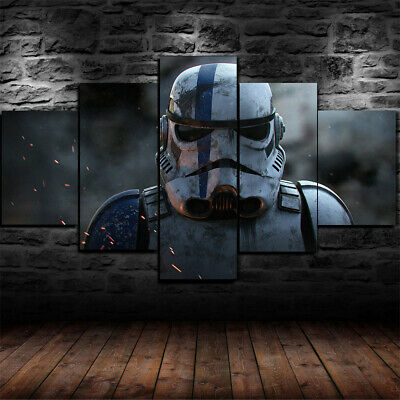 Framed Star Wars Stormtrooper Movie Poster 5 Piece Canvas Print Wall Art Decor