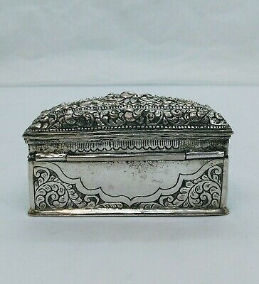 Antique Burmese Silver Half-Moon Lime Box, Repousse Shan States, Late 19Th C