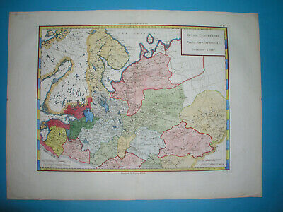 1782 Rare Original Map Russia Estonia Latvia Moscow Petersburg Tallin Riga