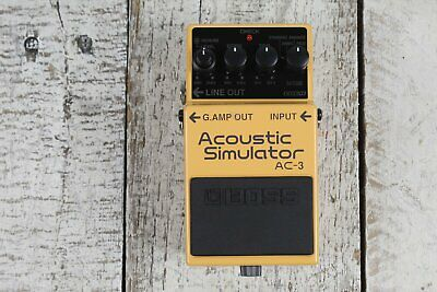 Boss AC-3 Acoustic Simulator Pedal Electric Guitar Effects Pedal w FREE Cables