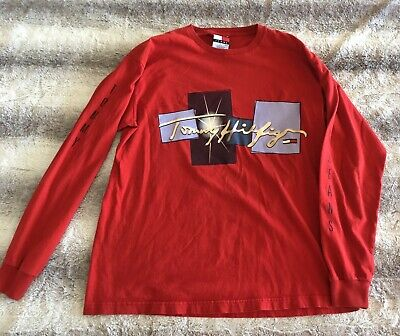 96a20915 VINTAGE 90's Tommy Hilfiger Long Sleeve Shirt Adult Small Red Spell Out Logo