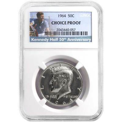 1964 50¢ Kennedy Silver Half Dollar NGC Choice Proof 50th Anniversary Label .361