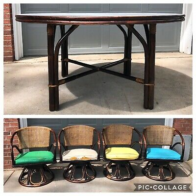 MCM FICKS REED ? 5 Pc Mid Century Modern Bamboo Rattan Dining Table & 4 Chairs