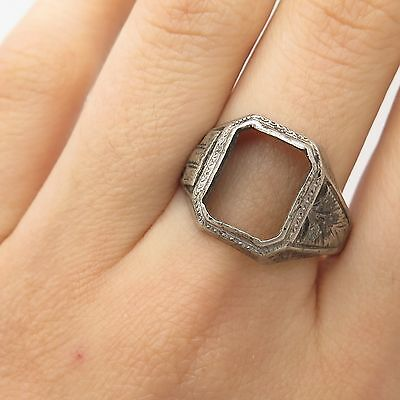925 Sterling Silver Antique Etched Design Wide Ring Size 11