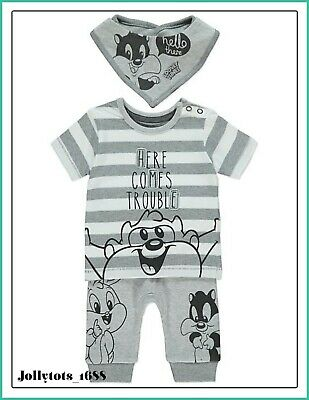 6dbc393075a2 Disney Baby Boys Looney Tunes Character Clothes Sleepsuit Shorts Jogger  Outfit