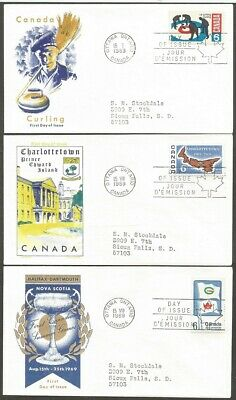 Canada Fdcs Canada 1969 Stamps #490 #499 #500 Canada First Day Of Issue Covers