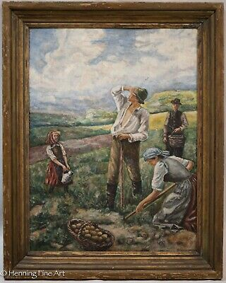 Antique Dutch German Oil Painting of Potato Farmers in Country Landscape, Signed