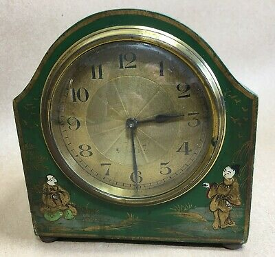 DECO CHINOISERIE DECORATED MANTLE CLOCK - FRENCH - GOOD CONDITION - working