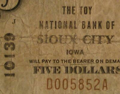 Sioux City Iowa IA 1929 $5.00 Ch. 10139 The Toy National Bank - NEAT NAME !!