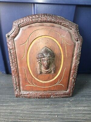 "1920's 11 1/4"" Carved Wood Pediment W/ Bust"