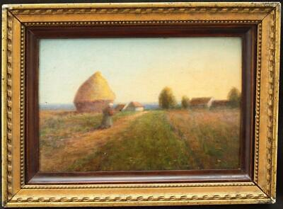 19th CENTURY FRENCH IMPRESSIONIST SUNSET HARVEST LANDSCAPE Antique Oil Painting
