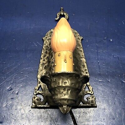 Single Antique Virden Wall Sconce Hammered Gothic Revival 71A