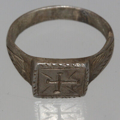 Intact Templar's Silver Ring Decorated & Cross Carving circa 1000-1400 AD