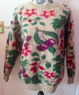 Vintage 1980'S Laura Ashley Heavy Wool Floral Jumper, Size M
