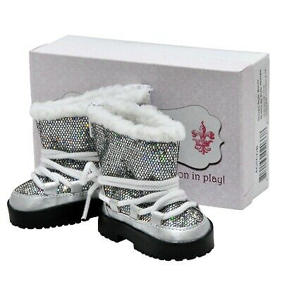 Silver Lace Up Boots &Box, Fits 18 Inch American Girl Doll Clothes & Accessories