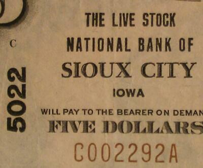Sioux City, Iowa IA 1929 $5.00 Ch. 5022 The Live Stock National Bank