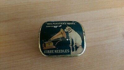 His Masters Voice gramophone fibre needle tin