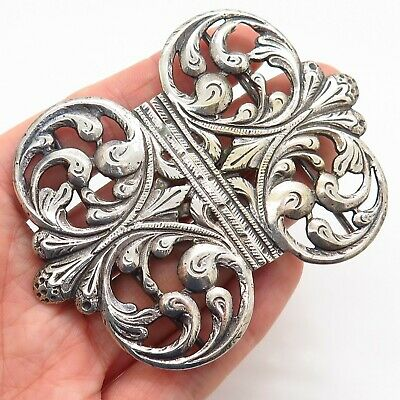 Antique Georgian 925 Sterling Silver Repousse Handmade Collectible Belt Buckle