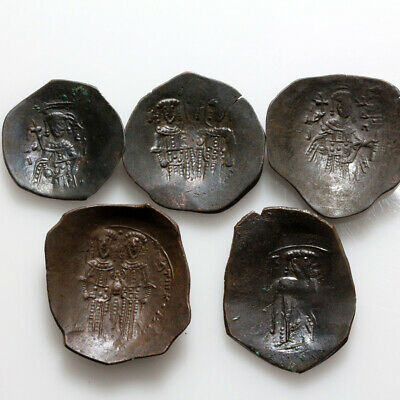 Lot Of 5 Byzantine Billon Trachy Coins Circa 1100-1200 Ad