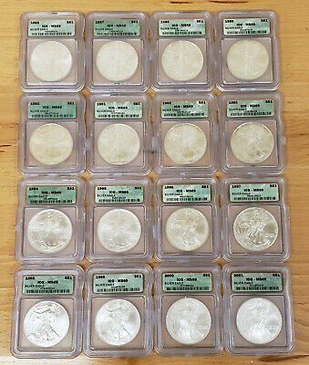 1986-2001 1 oz AMERICAN EAGLE $1 SILVER DOLLAR LOT (16 COINS) *ICG MS 69* #L310