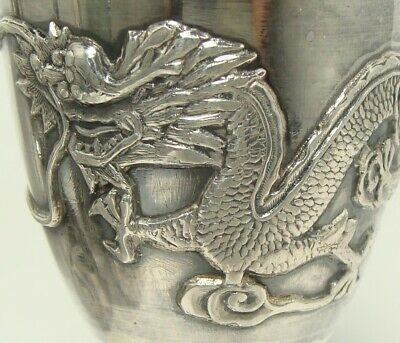 6 Antique Chinese Sterling Silver Cordial Cups EMBOSSED DRAGONS 234g