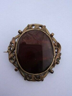 RARE 19th C., VICTORIAN, ARTS & CRAFTS, SCOTTISH BANDED AGATE PIN BROOCH/PENDANT