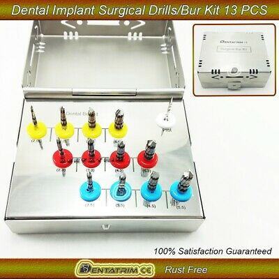 2 x Dental Implant Bur Drills Surgical Implant Kit 13 Pcs Dentist Tools New