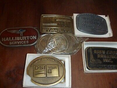 Vintage Lot Of 6 Heavy Equipment & Drilling Belt Buckles