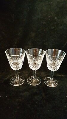 "3 Waterford LISMORE Crystal 5 7/8"" CLARET WINE Glasses"