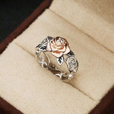 Exquisite 925 Silver Floral Ring 14k Rose Gold Flower Wedding Party Jewelry Gift