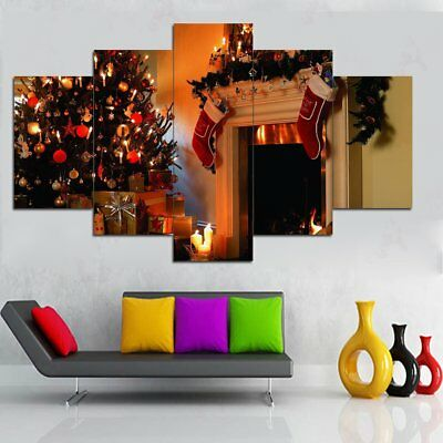 5Pcs Christmas Canvas Print Painting Xmas Winter Unframed Picture Wall Art !