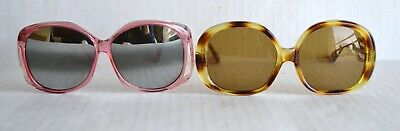 Vintage Lot of (2) Pair BUG EYE SUNGLASSES Women's Retro Fashion ca 1980s