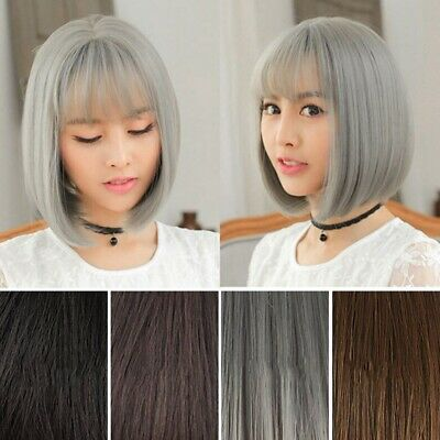 Women's Short Straight Bob Synthetic Wig with Bangs Black Wig Cosplay Anime Wigs