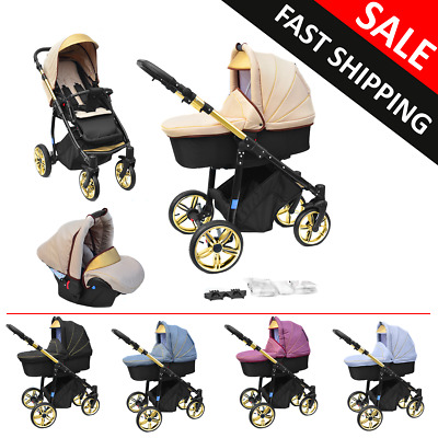 Baby Pram Complete Travel System Pushchair Car Seat Carrycot Buggy Newborn 3in1