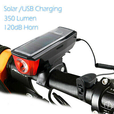 RockBros Cycling Headlight Solar USB Charging 350 Lumen Light 120dB Horn Red