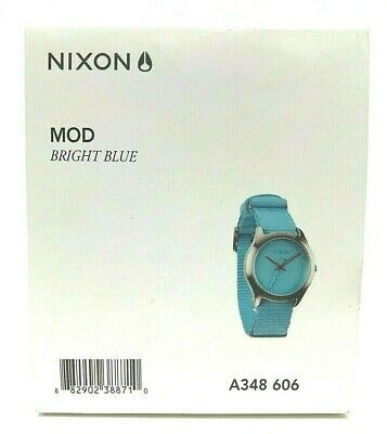 **NEW** Nixon A348 606  Womans MOD Bright Blue Watch with Fabric Band