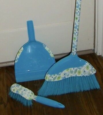 3 Piece Fancy Broom, Dustpan And Hand Brush, Bright Blue With Floral Design