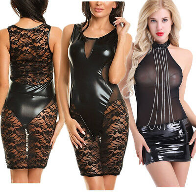 Damen Bodycon Spitze Lackleder Abend Party Cocktail Bleistift Clubwear Minikleid