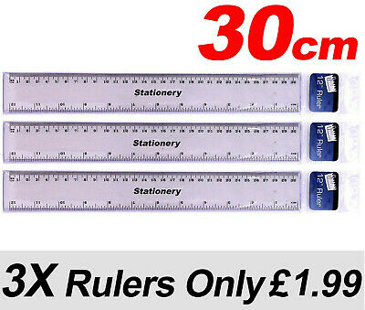 """3 X Clear Plastic Ruler 30cm - 12"""" shatter resistant - Same Day Dispatch"""