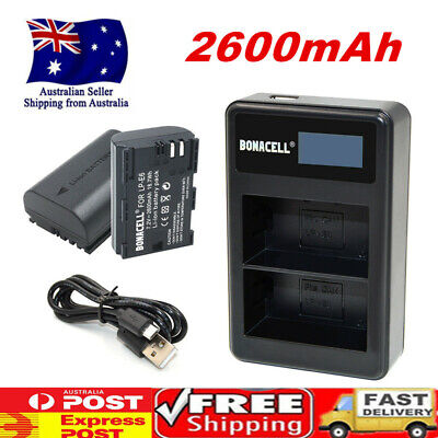 2X 2600mAh Battery + Dual Charger For Canon LP-E6 EOS 5D II III IV 80D 70D 6D 7D