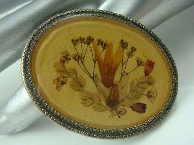Vintage Oval Pressed Genuine Flowers Under Lucite Silver Tone Pin Brooch
