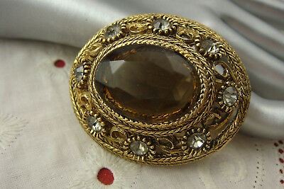 Vintage Oval Domed Topaz Rhinestone Roped Gold Tone Pin Brooch