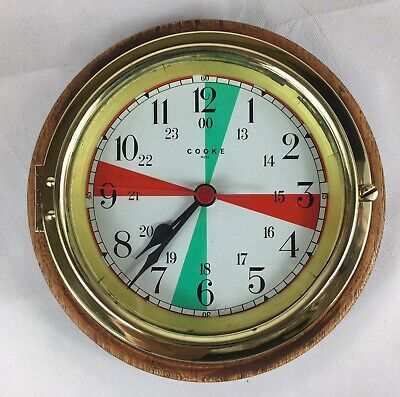 Vintage Brass Nautical Ships Clock, Cooke - Hull, With Wooden Back Plate