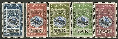 STAMPS-YEMEN. 1963. Airmail Overprint Set. SG: 226/30. Mint Never Hinged.