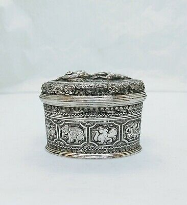 Antique Burmese Silver Lime Box, High-Relief Repousse, Shan States, Late 19Th C