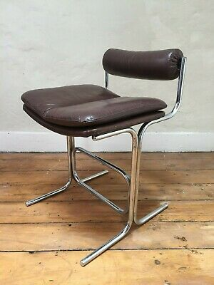 VINTAGE 1970s PIEFF LEATHER BAR KITCHEN BREAKFAST STOOLS dining chair retro